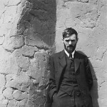 D.H. Lawrence in front of Witter Bynner's house in Santa Fe